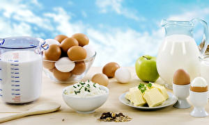 Pictures Quark curd cottage farmer cheese Milk Apples Muesli Breakfast Eggs Jug container Food
