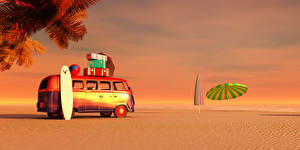 Hintergrundbilder Resort Küste Omnibus Regenschirm Sand 3D-Grafik