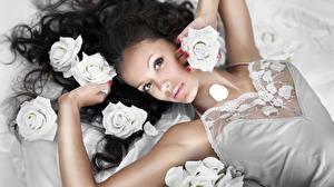 Images Roses Brunette girl Face Glance Hands Beautiful female