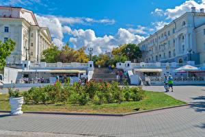 Photo Russia Crimea Houses Staircase Cafe Fence Sevastopol