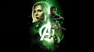 Pictures Scarlett Johansson Avengers: Infinity War Black background Movies Girls Celebrities