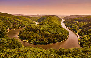 Picture Scenery Germany Forests River Hill Saarland Nature