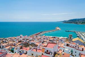 Fotos Spanien Gebäude Meer Schiffsanleger Peniscola Städte
