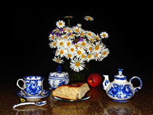 Hintergrundbilder Stillleben Sträuße Kamillen Flötenkessel Backware Äpfel Tasse Lebensmittel Blumen