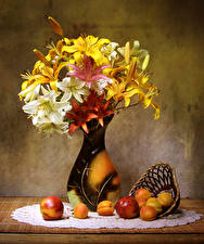 Image Still-life Lilies Apricot Peaches Vase Flowers Food