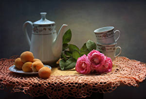 Pictures Still-life Roses Kettle Apricot Cup Table Flowers Food