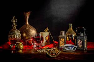 Bilder Stillleben Wein Pfeifkessel Kerzen Weinglas Kanne Tasse Lebensmittel