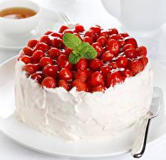Fotos Süßware Torte Erdbeeren das Essen
