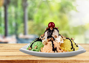 Pictures Sweets Ice cream Chocolate Cherry Balls Plate Food