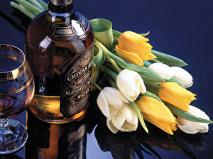 Photo Tulips Alcoholic drink Whisky Bottle Flowers