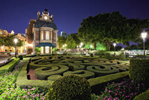 Pictures USA Disneyland Parks Houses California Anaheim Design Night Shrubs Street lights HDRI Cities