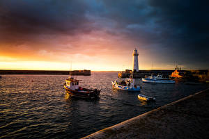Wallpapers United Kingdom Sunrise and sunset Lighthouses Pier Bay Donaghadee Northern Ireland Nature