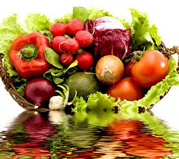 Fotos Gemüse Radieschen Zwiebel Tomate Kohl Peperone