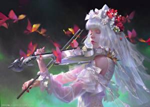 Fotos Violine Kleid Hand Fantasy Mädchens