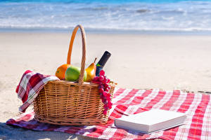 Pictures Wine Grapes Fruit Picnic Wicker basket Book Beaches Food