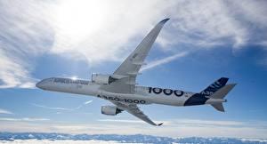 Hintergrundbilder Flugzeuge Airbus Verkehrsflugzeug Flug A350-1000 Luftfahrt