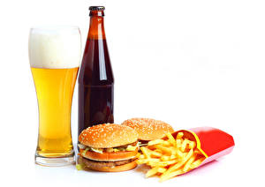 Images Beer Hamburger Buns French fries White background Highball glass Foam Bottles Food