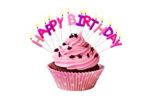 Bilder Geburtstag Cupcake Kerzen Weißer hintergrund Lebensmittel