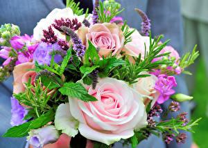 Bilder Sträuße Rosen Lisianthus Levkojen