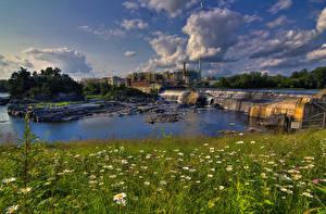 Bilder Kanada Flusse Wasserfall Quebec Gras Bromptonville Natur