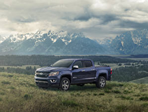 Hintergrundbilder Chevrolet Pick-up Blau Metallisch 2018 Colorado Z71 Centennial Edition Crew Cab Autos