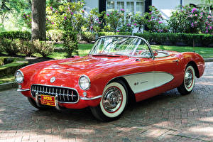 Image Chevrolet Vintage Red Metallic Cabriolet 1957 Corvette Fuel Injection 579B 283-283 HP automobile