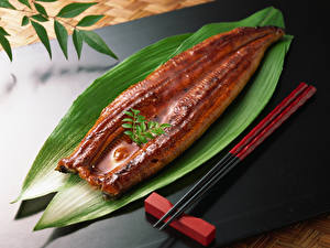 Pictures Fish - Food Foliage Chopsticks Food