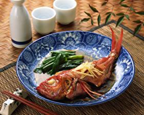 Bilder Fische - Lebensmittel Gemüse Teller Lebensmittel