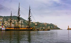 Images France Houses Berth Ships Sailing Bay Nice Cities