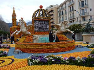 Bilder Frankreich Park Zitrusfrüchte Skulpturen Schlüsselblumen Design Menton Lemon Festival Städte