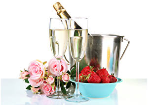 Wallpaper Holidays Sparkling wine Strawberry Roses White background Stemware Food Flowers