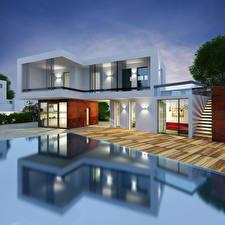 Image Building Mansion Design High-tech style 3D Graphics