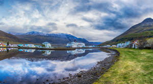 Image Iceland Houses Mountains Berth Bay Cities
