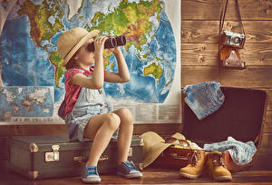 Picture Little girls Hat Boots Suitcase Camera Children