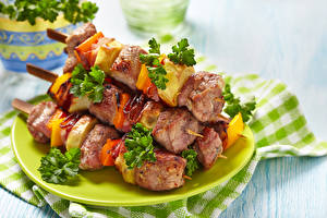 Bilder Fleischwaren Schaschlik Gemüse Teller Lebensmittel