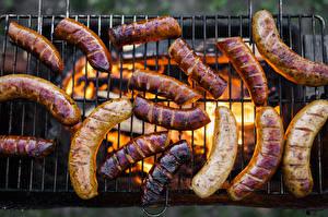 Fotos Fleischwaren Wiener Würstchen Flamme Lebensmittel