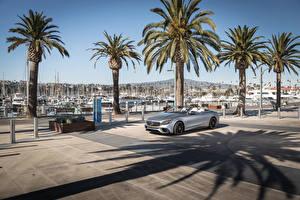 Tapety na pulpit Mercedes-Benz Szara Kabriolet 2018 AMG S63 4MATIC Cabriolet Samochody