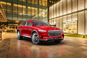 Bilder Mercedes-Benz Rot 2018 Vision Maybach Ultimate Luxury Autos