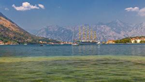 Hintergrundbilder Montenegro Gebäude Schiffe Segeln Bucht Kotor Städte