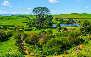 Hintergrundbilder Neuseeland Park Landschaftsfotografie Teich Dorf Strauch Matamata Hobbit village Natur