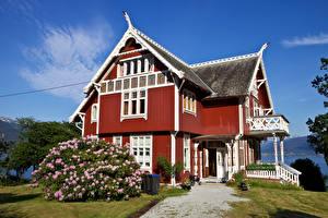 Photo Norway Building Mansion Design Bush Balestrand Cities