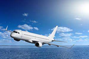 Fotos Flugzeuge Verkehrsflugzeug Himmel Meer Flug Luftfahrt