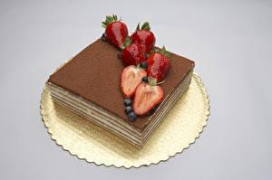 Hintergrundbilder Backware Obstkuchen Erdbeeren Grauer Hintergrund Lebensmittel