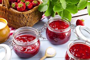 Bilder Konfitüre Erdbeeren Weckglas Lebensmittel
