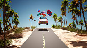Image Resorts Roads Palm trees Suitcase Parasol Ball Tourism 3D Graphics Cars