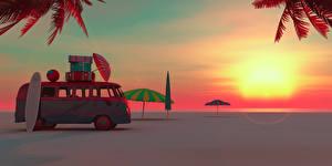 Bilder Resort Sonnenaufgänge und Sonnenuntergänge Küste Omnibus Koffer Regenschirm Tourismus 3D-Grafik Natur