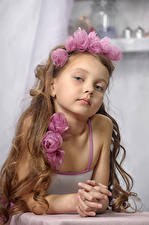 Pictures Roses Little girls Model Staring Brown haired Children