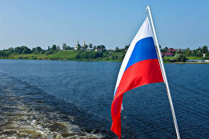 Bilder Russland Flusse Flagge Russische Uglich River Volga