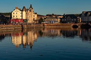 Tapety na pulpit Szkocja Budynki Rzeki Oban Miasta