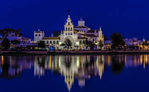 Photo Spain Building Rivers Temples Night El Rocio Andalusia Cities